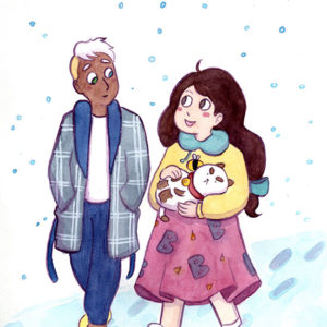 Snowy Walk - art by Brittany Long Olsen @brytning